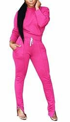 Gocgt Womens Solid Jacket Suit Bodycon Pants Sweatsuits 2 Pieces Outfits