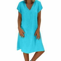 Sttech1 Ladies Summer Linen Dress Feminino Vestido T-Shirt Cotton Casual Plus Size Dress