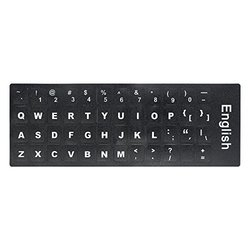 English Keyboard Replacement Stickers White on Black Any PC Computer Laptop BB