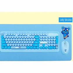 Wireless Keyboard Sacow K68 Optical Keyboard and Mouse USB Receiver Kit for PC Computer Blue