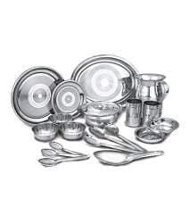 Dinner Plate Embassy Stainless Steel Bulging Khumcha Spl Pack of 2 Size 14, Diameter - 29 cms