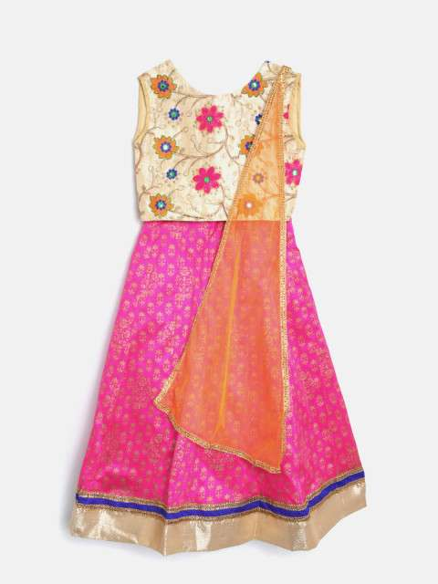 Buy Yk Girls Beige Pink Embroidered Ready To Wear Lehenga Blouse With Dupatta Beige 11 12 Years Features Price Reviews Online In India Justdial