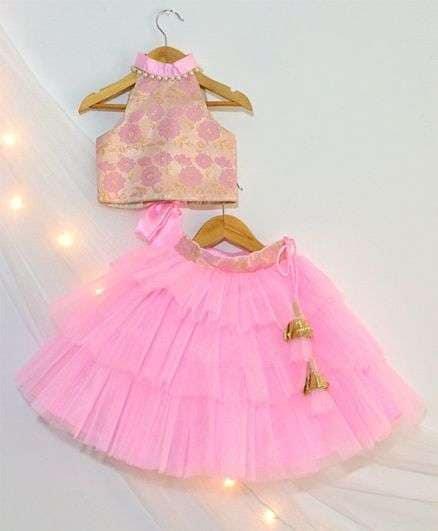 Buy Tutus By Tutu Flower Design Choli & Lehenga Set Pink