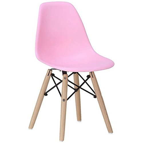 Buy 2xhome Set Of Four 4 Pink Kids Size Eames Side Chairs Eames Chairs Pink Seat Natural Wood Wooden Legs Eiffel Childrens Room Chairs No Arm Arms Armless Molded Plastic Seat Dowel