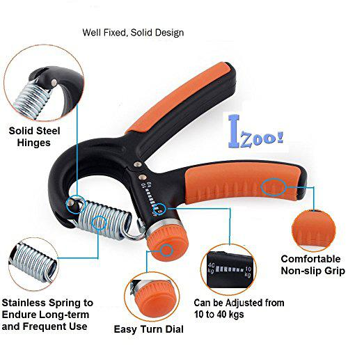 Buy Izoo Adjustable Hand Gripper- Best Handgripper Exerciser Strengthener,  Hand Exerciser, Non-slip Hand Grip, Resistance 10kg to 40kg for gym,strong  wrist, finger, forearms, Features, Price, Reviews Online in India - Justdial
