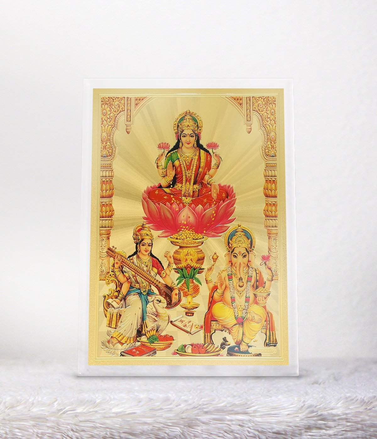 Buy Avercart Goddess Laxmi Shri Lakshmi Laxmiji Goddess Of Wealth With Ganesha Ganpati And Saraswati Ganesh Laxmi Saraswathi Poster 5x7 Table Top Acrylic Photo Frame 13x18 Cm Framed Features Price