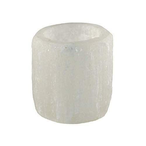 Dancing Bear Cylinder Shaped Selenite Candle Holder in White Box with Tealight Candle and Educational Card included Brand.