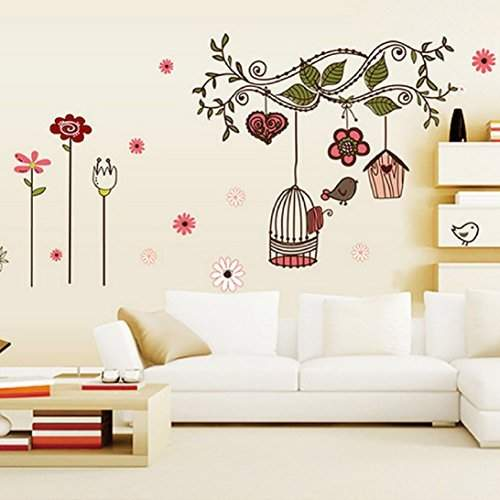 Buy Sunward Vintage Home Art Decor Wall Stickers Living Room Decals Removable Branch Bird Cage Home Decor Features Price Reviews Online In India Justdial