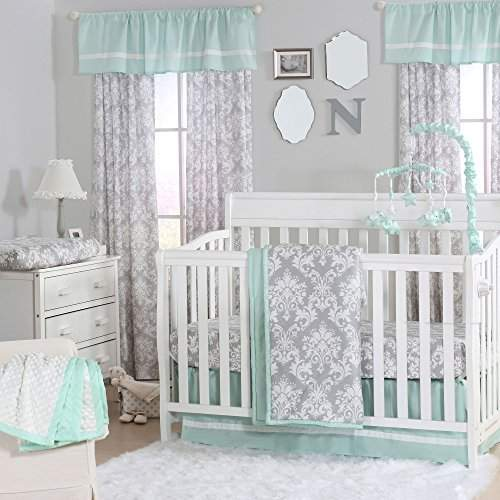 Piece Baby Crib Bedding Set, Gray And Mint Green Baby Bedding