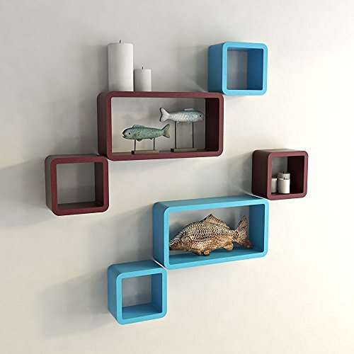 Buy Rjkart Wall Shelf Set Of Six Designer Wall Rack Shelves Skyblue Amp Maroon Features Price Reviews Online In India Justdial