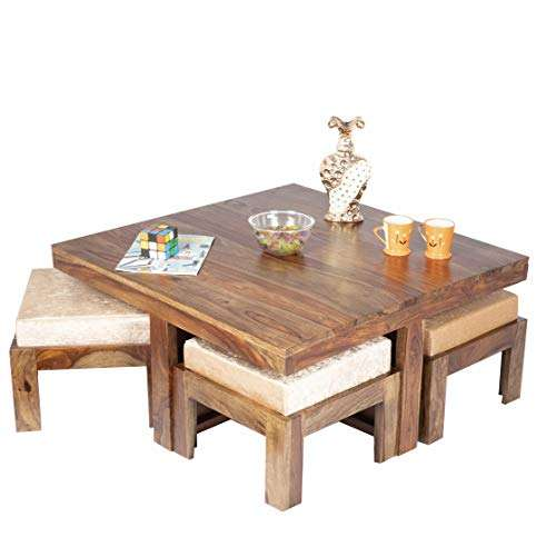 Buy Ikiriya Solid Wood Coffee Table With 4 Stools Features Price Reviews Online In India Justdial
