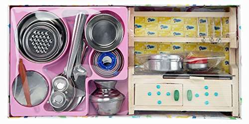 Buy Heritage Og Green India Mini Kitchen Set With Small Wooden Stand Toy Features Price Reviews Online In India Justdial