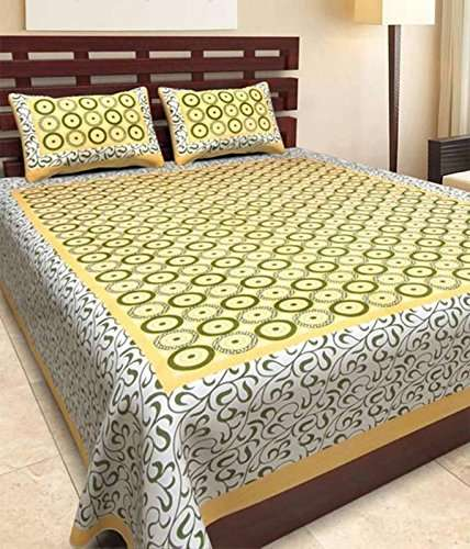 King Size 100/% Cotton Rajasthani Tradition Double Bedsheet With 2 Pillow Cover