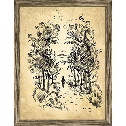 Buy Pitaara Box Surreal Portrait Of A Woman In The Park Canvas Painting Antique Golden Frame 19 X 24 8inch Features Price Reviews Online In India Justdial