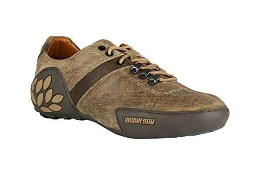 Khaki Leather Sneakers-5 UK/India