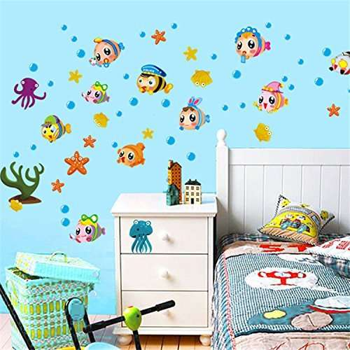 Buy Syga Wall Stickers Kids Room Cartoon Fish Wall Decals Ay Ohy Ay652w Features Price Reviews Online In India Justdial