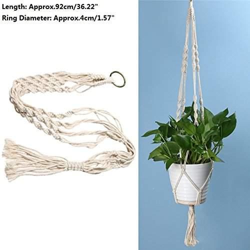 Vintage Knotted Macrame Plant Hanger Basket Flowerpot Holder Lifting Rope Decor