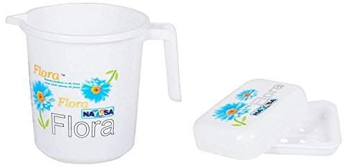 Buy Nayasa Plastic Flora Bathroom Mug With Matching Soap Case 1 5 Liters Blue Flora White 2 Pieces Set Features Price Reviews Online In India Justdial