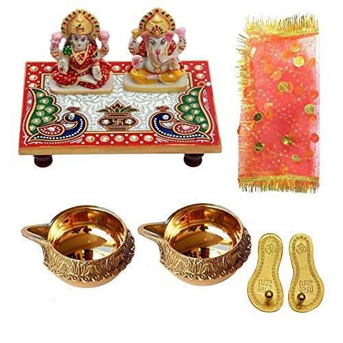 Buy Laxmi Ganesh Ji With Marble Choki Combo For Laxmi Paduka Oil Lamb Mata Ki Chunri Diwali Pooja Samgri Kit Poojan Samagri By Uk Hub Features Price Reviews Online In