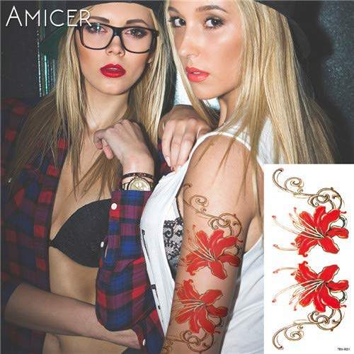 Buy 1 Piece Hot 3d Tattoos One Time Temporary Tattoos Arm Red Rose Flower Tattoo Waterproof Female Body Art Tattoo 12 Features Price Reviews Online In India Justdial
