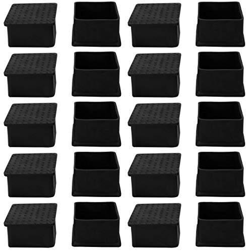 Black Rubber Table Leg Caps End Feet Cover Furniture Glide Floor Protector 20pcs