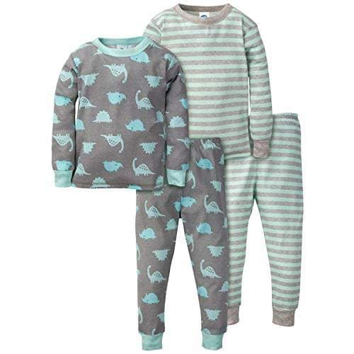 Gerber Baby Boys Organic 2 Pack Cotton Footed Unionsuit DINO 9 months