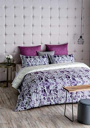 d decor 400tc cotton double bedsheet with 2 pillow covers king size ethnic purple