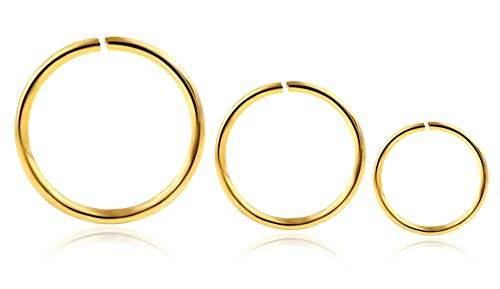 Buy Fidgetgear 100pcs 316l Surgical Steel Nose Piercing Nose Hoop Ring Stud Ear Piercing Gold 10mm 20g 0 8 Mm