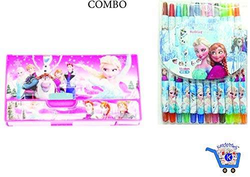 Buy Combo Colorful Twistup Rolling Crayons Pen For Kids With Kartshitech Mini Jumbo Pencil Box Frozen Sofia Features Price Reviews Online In India Justdial