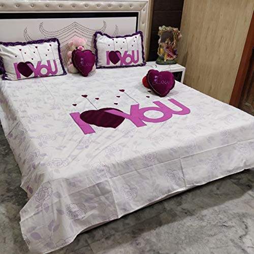 Buy Blenzza Deco Pure Cotton I Love You Design Double Bedsheet With 2 Stylish Pillow Covers 2 Heart Shape Cushions Features Price Reviews Online In India Justdial