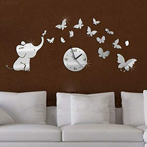Buy Electroprime F567 3d Elephant Butterfly Silent Decorative Wall Clock Livingroom Watches Decor Features Price Reviews Online In India Justdial