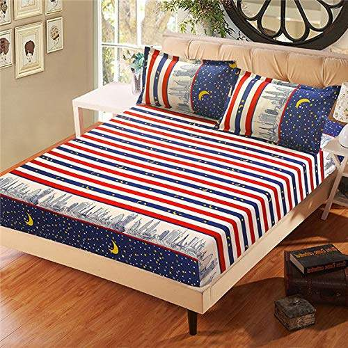 Beesclover Bed Sheet With, King Fitted Sheet On Queen Bed