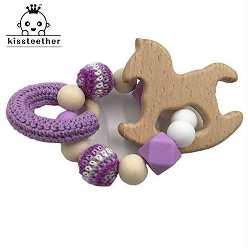 Baby Wooden Teether Animal Shape Chew Beads Toddler Teething Bracelet Toys JD