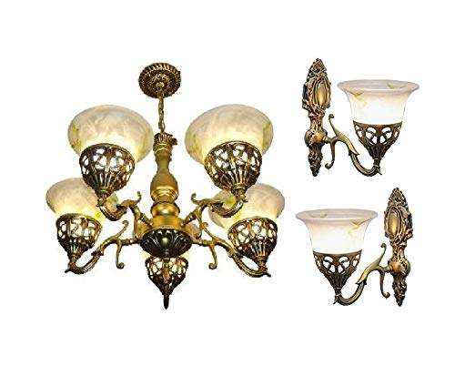 Buy Brightlyts Antique Gold Brass Chandelier Hanging Pendant Ceiling Light And 2 Pieces Of Wall Lamps Set Combo Features Price Reviews Online In India Justdial