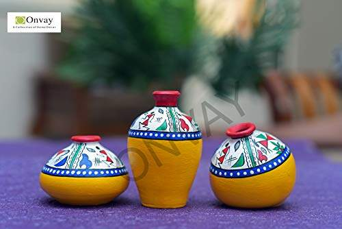 Buy Onvay Terracotta Warli Hand Painted Pots For Home Decoration Set Of 3 Flower Vase Home Decor Features Price Reviews Online In India Justdial