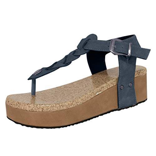 Buy Fyou Women's Fashion Casual Flip Flops Buckle Strap Wedges Sandals  Platforms Shoes Gray, Features, Price, Reviews Online in India - Justdial