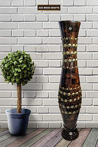 Buy Awc Wood Crafts Wooden Flower Vase Antique Showpiece Pot For Home Office Decor Article Features Price Reviews Online In India Justdial