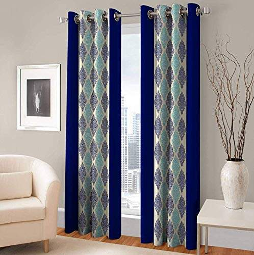 inaayat creations polyester curtains for door 7 feet pack of 2blue blue 7 feet