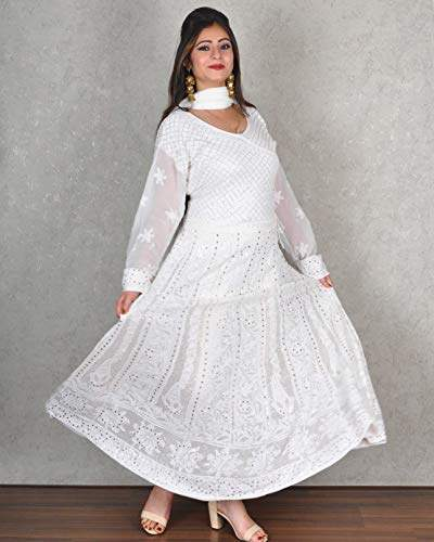 Buy Kasturi B Women S White Georgette 2 Pc Anarkali Suit With Chikankari Amp Mukaish Features Price Reviews Online In India Justdial