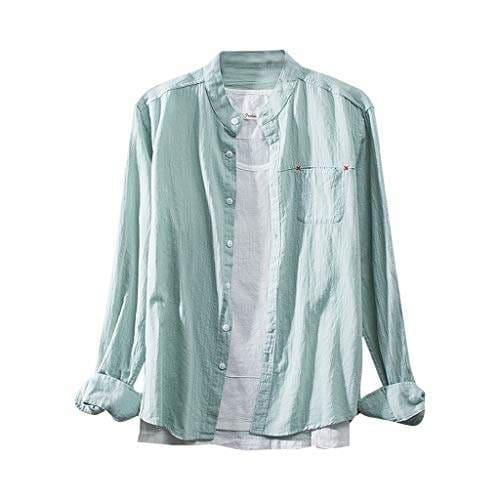 Rosatro Men Full Sleeve Shirt Fashion Cotton Linen Solid Long Sleeve Regular Fit Casual Shirts Tops Army Green