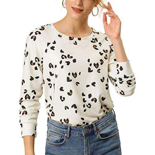 Buy Allegra K Women S Casual Animal Leopard Print Cute Tops Basic Long Sleeve Soft Blouse Xs Off White Features Price Reviews Online In India Justdial