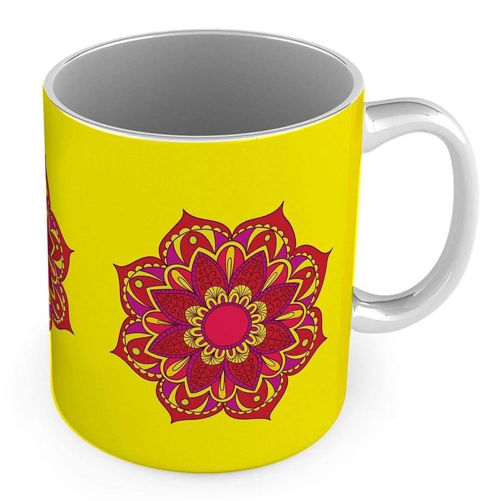 Buy Indiangiftemporium Red Flower Printed Design Fancy Yellow Coffee Mug Features Price Reviews Online In India Justdial