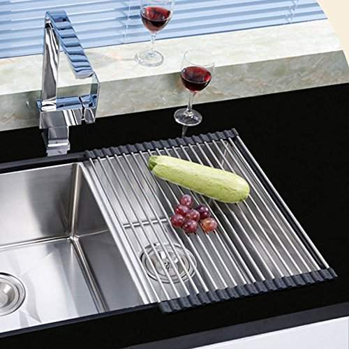 Buy Large Dish Drainer Rack Stainless Steel Over The Sink Kitchen Countertop Folding Roll Up Dish Drying Rack Features Price Reviews Online In India Justdial