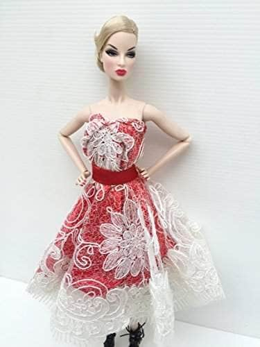 Buy Lavindoff Red White Sweet Evening Dress Handmade Handcraft Outfit Gown Silkstone Barbie Fashion Royalty Features Price Reviews Online In India Justdial