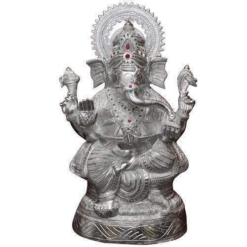 White Metal Golden Chair Ganesh Idol At Best Price White Metal