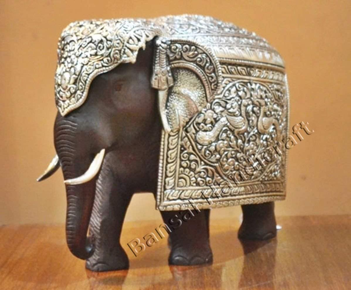 Buy Collectible India Wooden Metal Mix Elephant Figurine Home Decor Gift Features Price Reviews Online In India Justdial
